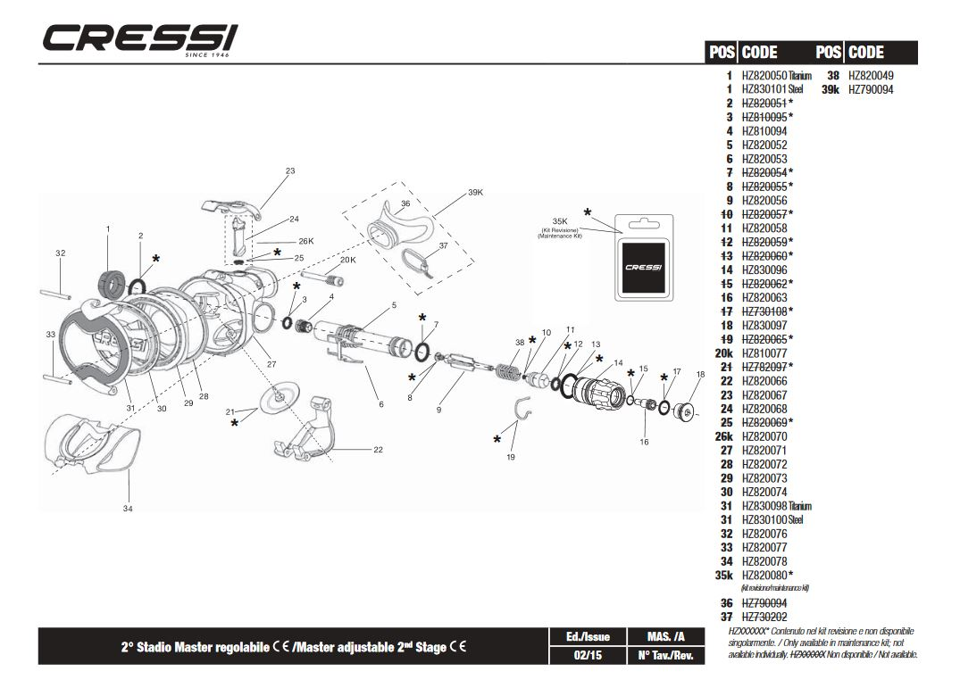 CRESSI REGULATOR SPARE PARTS